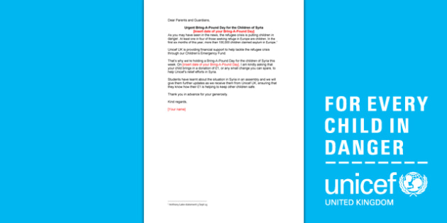 Unicef Refugee Crisis Template Letter to Parents - refugee, crisis, template, letter, unicef, syria