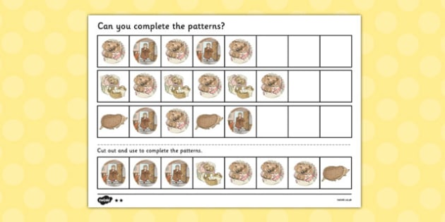 The Tale of Mrs Tiggy Winkle Complete the pattern worksheets