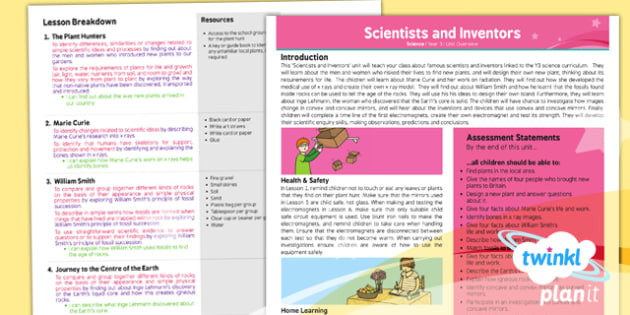 PlanIt - Science Year 3 - Scientists and Inventors Planning Overview - planit, science, year 3, planning, overview