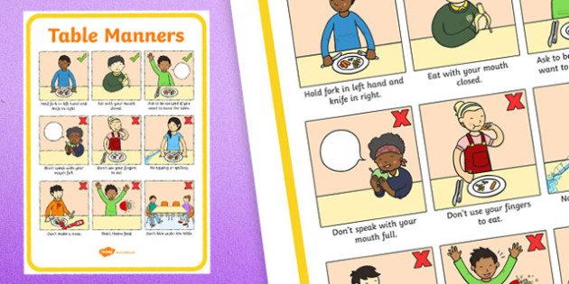 Table Manners Rules Display Poster - Table Manners Rules Display Poster, table manners, manners, rules, display, poster, sign, good manners, good behaviour, behaviour, eating, food, lunch, table, break