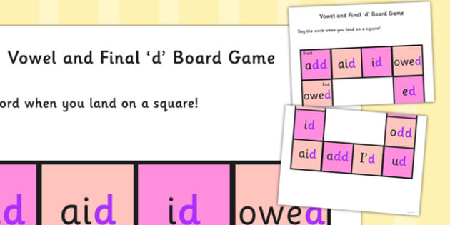 Vowel and Final 'D' Board Game - final d, sound, board game