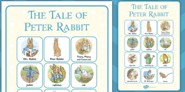 The Tale of Peter Rabbit Vocabulary Poster - peter rabbit, poster