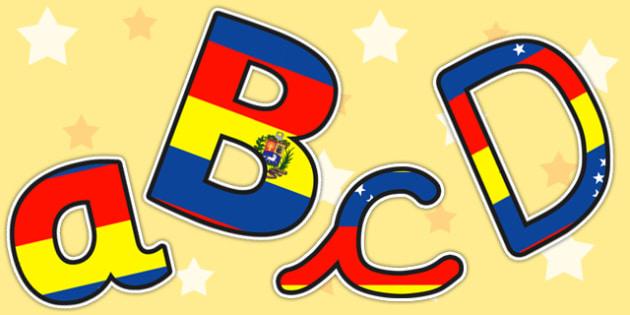Venezuela Flag Themed Size Editable Display Lettering - venezuela
