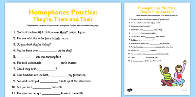 Homophones Practice Worksheet They're There Their - homophone, spelling, common, error, practise, practise, spag, grammar, 2014, curriculum, literacy, English
