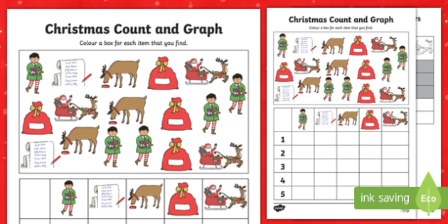 Christmas Count and Graph Activity Sheet, worksheet