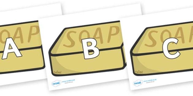 A-Z Alphabet on Soap - A-Z, A4, display, Alphabet frieze, Display letters, Letter posters, A-Z letters, Alphabet flashcards