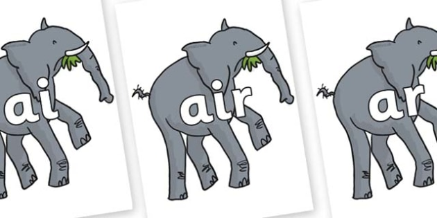 Phase 3 Phonemes on Trunky The Elephant to Support Teaching on The Enormous Crocodile - Phonemes, phoneme, Phase 3, Phase three, Foundation, Literacy, Letters and Sounds, DfES, display
