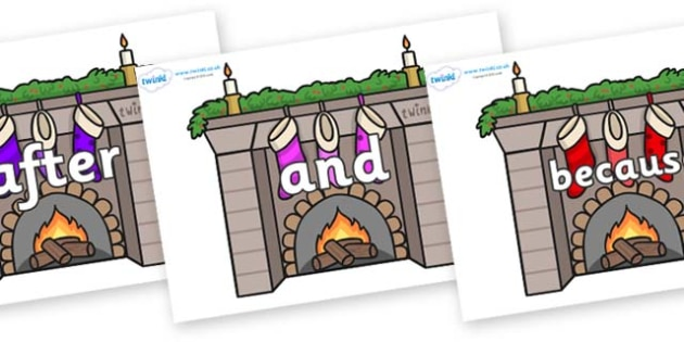Connectives on Fireplaces - Connectives, VCOP, connective resources, connectives display words, connective displays