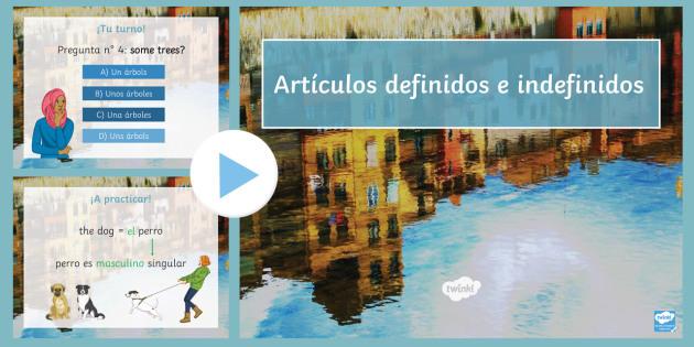 Definite and Indefinite Articles in Spanish PowerPoint - Spanish Grammar, definite articles, indefinite articles, PowerPoint, KS3