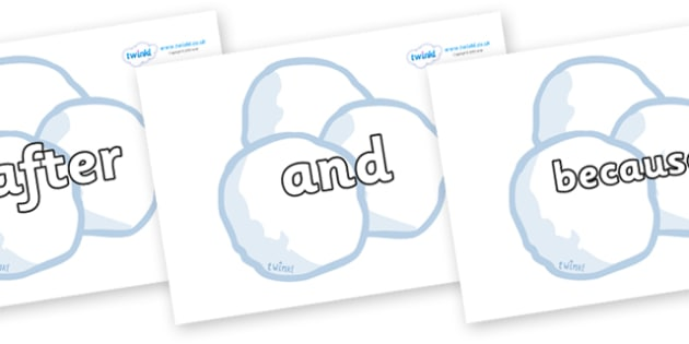 Connectives on Snowballs - Connectives, VCOP, connective resources, connectives display words, connective displays