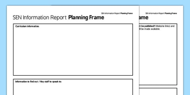 SEN Information Report Planning Frame Secondary PDF - sen, information, report planning, report, plan, frame, secondary
