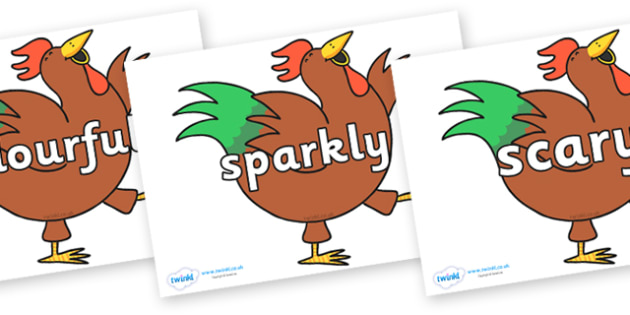 Wow Words on Hullabaloo Rooster to Support Teaching on Farmyard Hullabaloo - Wow words, adjectives, VCOP, describing, Wow, display, poster, wow display, tasty, scary, ugly, beautiful, colourful sharp, bouncy