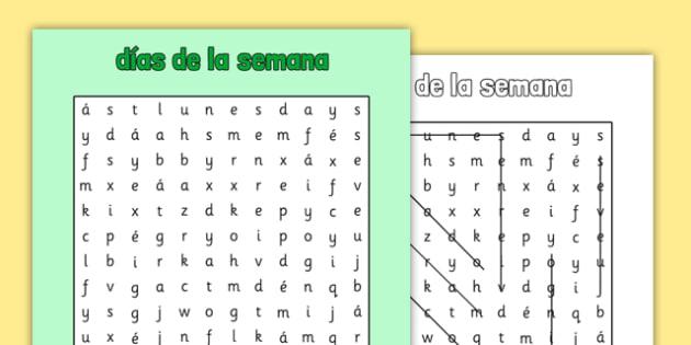 Días de la semana Word Search Spanish - spanish, days of the week, days, week, wordsearch, word search