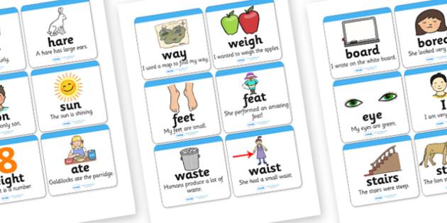 Homophones Matching Cards (Small Set) - homophones matching cards, homophones, homophone cards, homophone words, word meanings, ks2 literacy, words, homphones