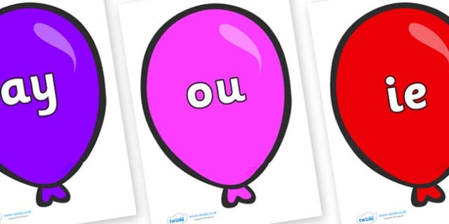 Phase 5 Phonemes on Party Balloons - Phonemes, phoneme, Phase 5, Phase five, Foundation, Literacy, Letters and Sounds, DfES, display