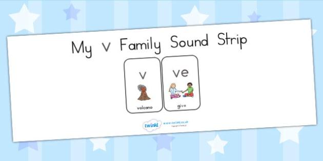 My V Family Sound Strip - sound family, visual aid, literacy