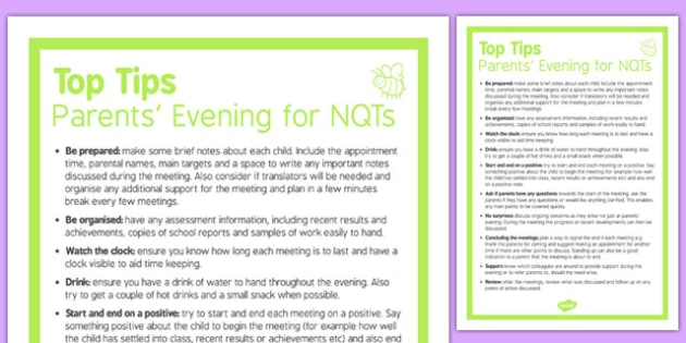 Top Ten Tips for Parents' Evening for NQTs - top ten tips, parents evening