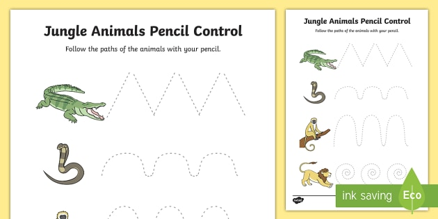 Jungle Animal-Themed Pencil Control Sheets - walking through the jungle, jungle, pencil control, line control, pencil control worksheet