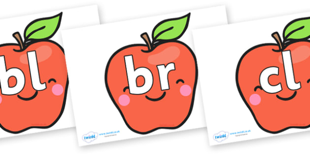Initial Letter Blends on Cute Smiley Apple - Initial Letters, initial letter, letter blend, letter blends, consonant, consonants, digraph, trigraph, literacy, alphabet, letters, foundation stage literacy