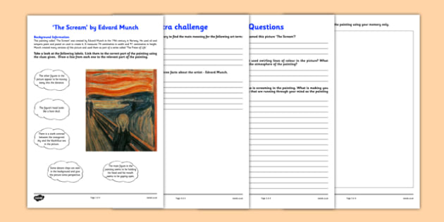 The Scream by Munch Art Appreciation Activity Sheet - art, appreciation, activity sheet, Munch, The Scream, worksheet