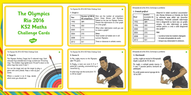 The Olympics Rio 2016 lks2 Maths Challenge Cards Romanian Translation - romanian, KS2, Maths Challenge, Olympics, graph, division, combinations, rugby sevens, target, archery, halving, Rio, challenge cards