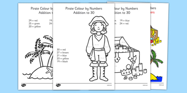 Pirate Addition to 30 Colour by Numbers - pirate, addition to 30, addition, colour by numbers, colour, number, add