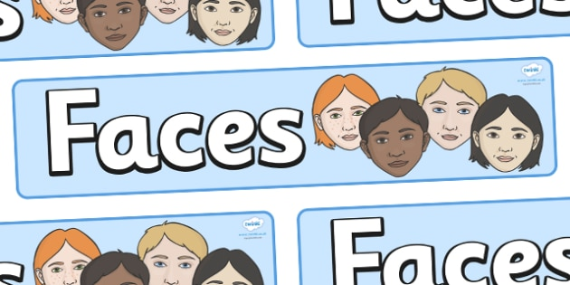 Faces Display Banner -  Face, features, KS1, display banner, display, poster, emotions, feelings, All about me, ourselves, eye, mouth, lips, ourselves, all about me, emotions, feelings, face, faces