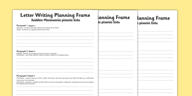 Transition Letter Writing Differentiated Planning Frame Polish Translation - polish, transition, letter, planning