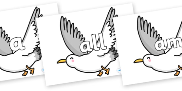 Foundation Stage 2 Keywords on Seagulls - FS2, CLL, keywords, Communication language and literacy,  Display, Key words, high frequency words, foundation stage literacy, DfES Letters and Sounds, Letters and Sounds, spelling