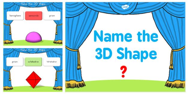 Name the 3D Shape Year 6 PowerPoint Quiz - australia, 3d, shape