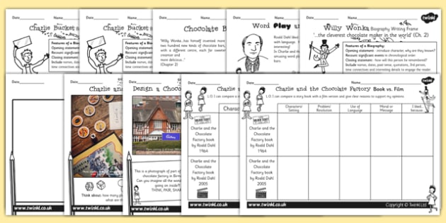 Activity Sheets Pack to Support Teaching on Charlie and the Chocolate Factory - games, worksheet