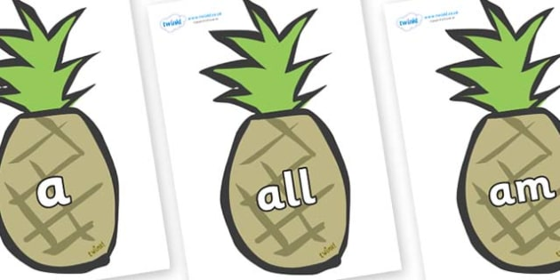 Foundation Stage 2 Keywords on Pineapples - FS2, CLL, keywords, Communication language and literacy,  Display, Key words, high frequency words, foundation stage literacy, DfES Letters and Sounds, Letters and Sounds, spelling