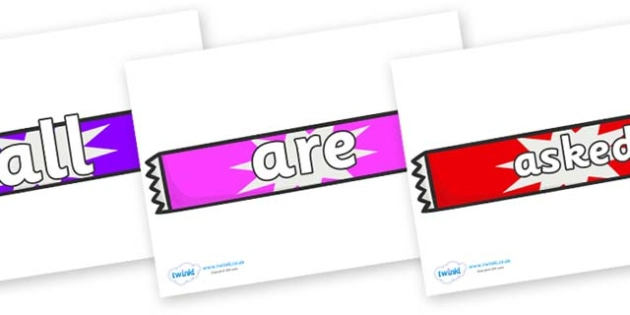 Tricky Words on Candy Bars - Tricky words, DfES Letters and Sounds, Letters and sounds, display, words