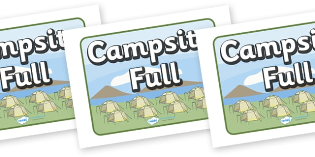 Campsite Full Display Sign - Campsite, role play, camping, sign, banner, Poster, Display, tent, pegs, campsite booking, caravan, holidays, holiday