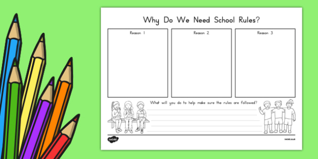 Why Do We Need School Rules? Activity Sheet, worksheet