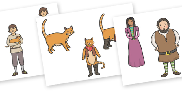 Puss in Boots Stick Puppets - Puss, cat, in boots, royal, coach, curier, miller, story, story book, story sequencing, story resources, stick puppet, king, king's daughter, donkey, prince,Marquis of Carabas, mill, boots, inheritance, son,  story, trad