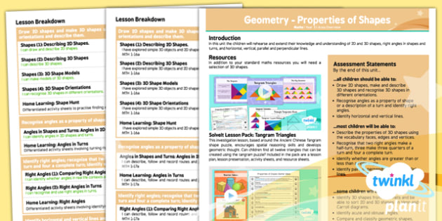 PlanIt - Maths Year 3 - Properties of Shapes Area Overivew CfE - PlanIt, CfE, 2D shape, 3D shape, right angles, lines, curriculum, excellence, cfe, scotland, scottish, geometry