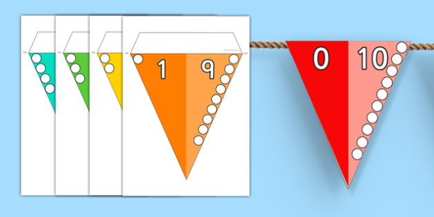 Number Bonds to 10 Bunting - number bonds, 10, bunting, display
