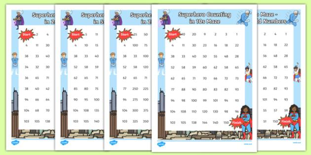Superhero-Themed Counting Maze Activity Sheets Pack - superhero, counting, count, maze, activity, pack, worksheet