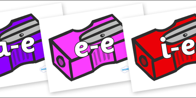 Modifying E Letters on Pencil Sharpeners - Modifying E, letters, modify, Phase 5, Phase five, alternative spellings for phonemes, DfES letters and Sounds