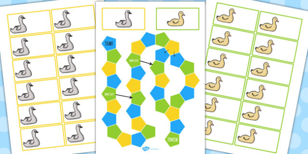 Ugly Duckling Themed Editable Board Game - board game, ugly, duck