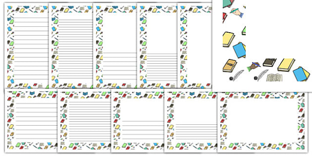 Writing Themed Page Borders - writing, themed, page borders