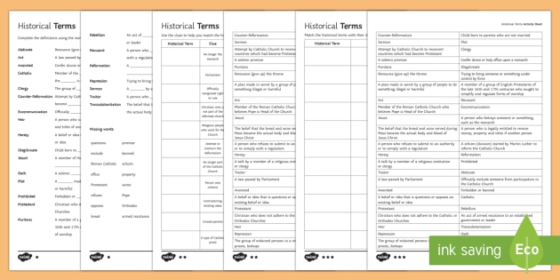 Elizabethan Religious Settlement Historical Terms Activity Sheets - Elizabethan Religious Settlement, Protestant, Catholics, Anglicans, compromise, religion, religious,