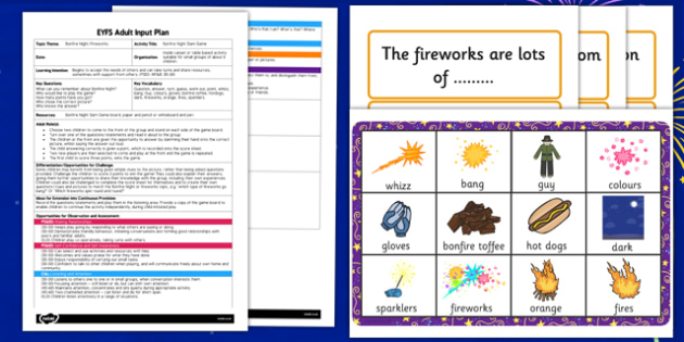 Bonfire Night Slam Game EYFS Adult Input Plan and Resource Pack