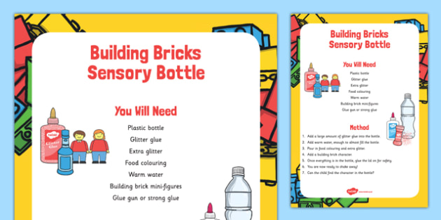 Building Bricks Sensory Bottle - building bricks, sensory, bottle