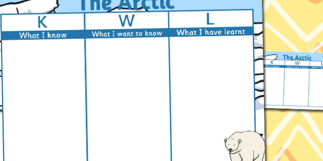 The Arctic Topic KWL Grid - KWL, Know, Want, Learn, Grid, Arctic