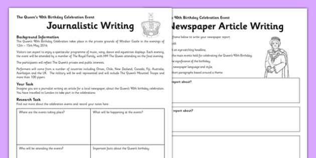 The Queen's 90th Birthday Celebration Newspaper Writing Activity - queen's birthday, 90th birthday, queen's 90th birthday, celebration, newspaper, writing, activity