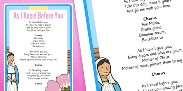 As I Kneel Before You Hymn Lyrics Display Poster - Mary, Our Lady, May, Mary in May, hail mary, religion, may altar, hymn, display