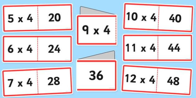 4 Times Tables Cards - times table, times tables, cards, 4, fold, activity