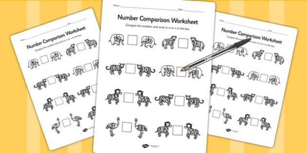 Safari Number Comparison Worksheet - compare, jungle, animals